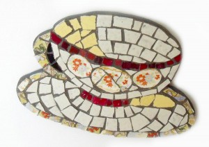 mosaic yellow teacup