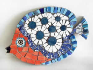 mosaiic fish blue red